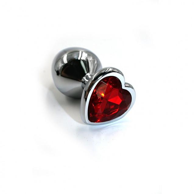 Небольшая серебристая пробочка с розовым кристаллом в виде сердца
