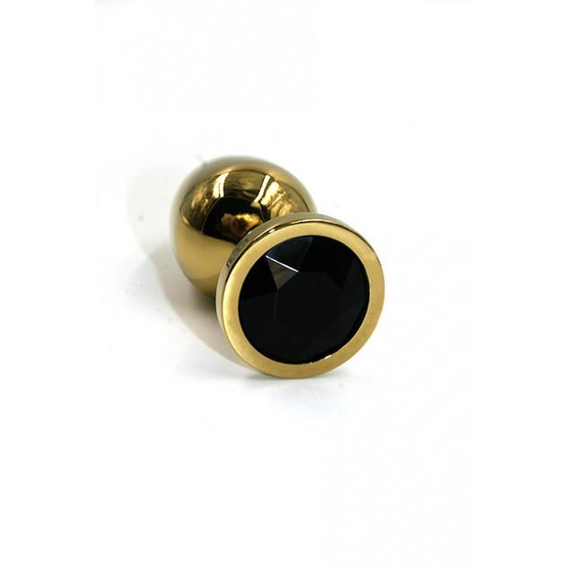 Золотая анальная пробка с черным стразом