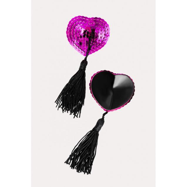 Пэстис Erolanta Lingerie Collection в форме сердец с кисточками, розово-черные